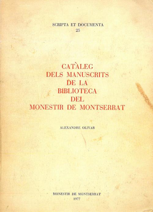 Catàleg del manuscrits Olivar Biblioteca de Montserrat
