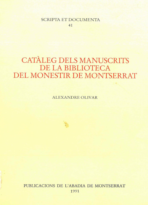 Alexandre Olivar Montserrat Abadia Biblioteca de Montserrat