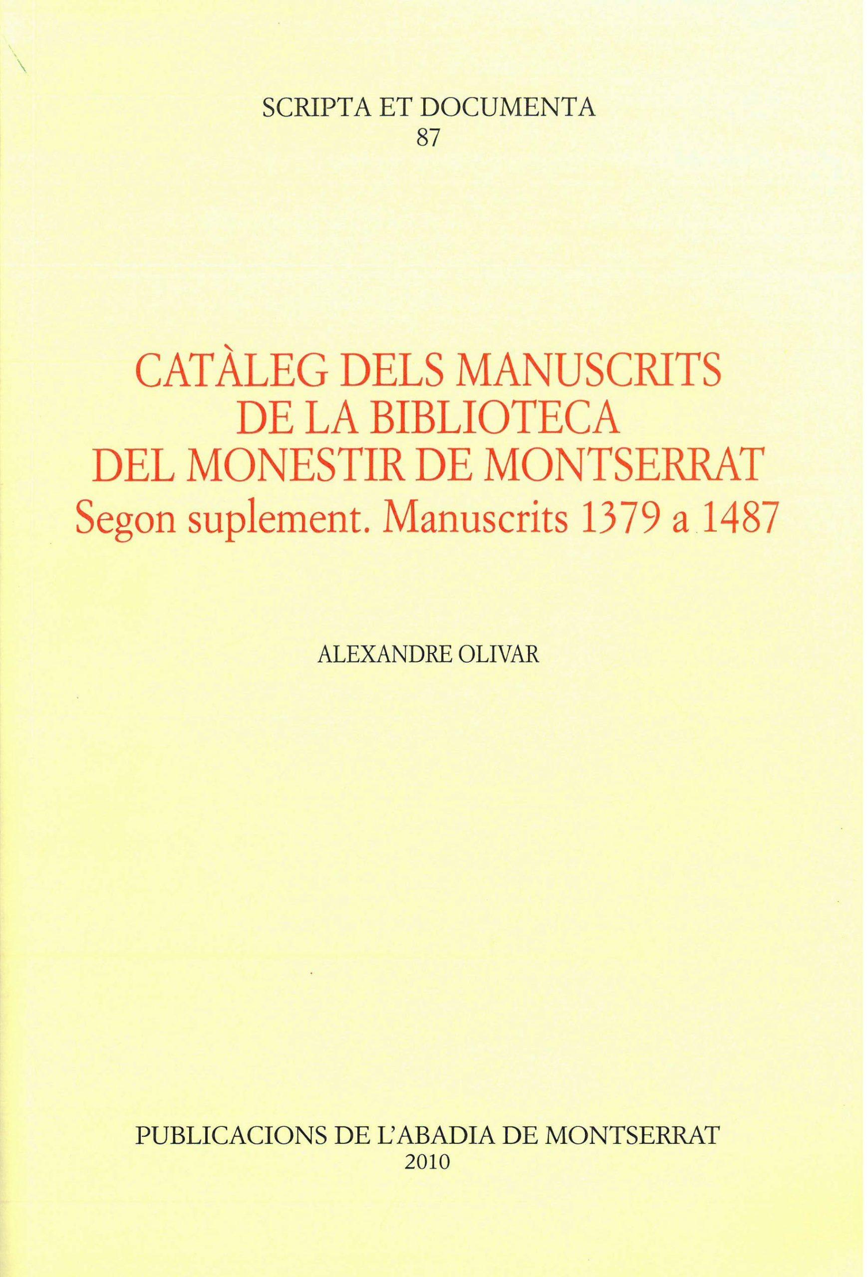 Cataleg Manuscrits Biblioteca de Montserrat